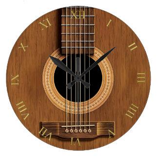 Grande Horloge Ronde Musique en bois naturelle de guitare acoustique de