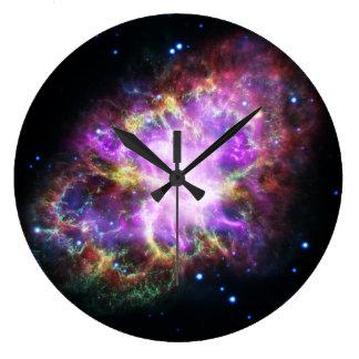 Grande Horloge Ronde Nébuleuse de crabe rose