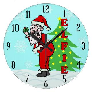Grande Horloge Ronde Noël drôle Père Noël Elfie
