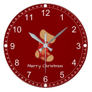 Grande Horloge Ronde Noël stockant le Joyeux Noël