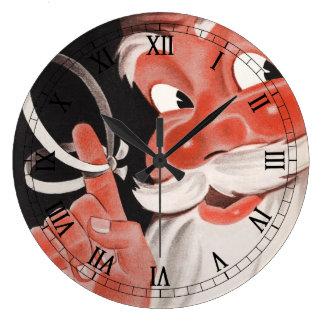 Grande Horloge Ronde Noël vintage, le père noël gai avec de la ficelle