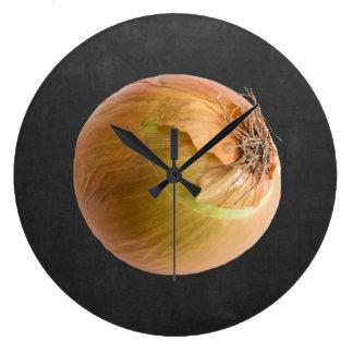 Grande Horloge Ronde Noir jaune de tableau de chef de cuisine d'oignon