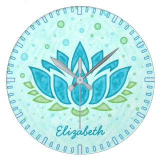 Grande Horloge Ronde Nom du zen | de fleur de Lotus bleu de l'espace de