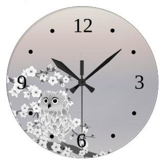 Grande Horloge Ronde Nombres beiges de Taupe de hibou mignon