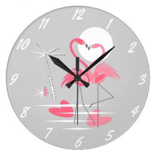 Grande Horloge Ronde Numéros de pointage d'amour de flamant ronds