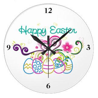 Grande Horloge Ronde Oeufs de parties scintillantes de Pâques et floral