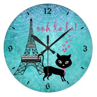 Grande Horloge Ronde Oh chat de Paris de La de La avec Tour Eiffel et