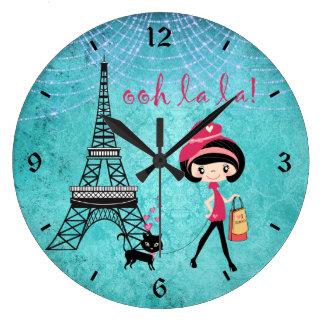 Grande Horloge Ronde Oh fille et chat de Paris de La de La avec Tour