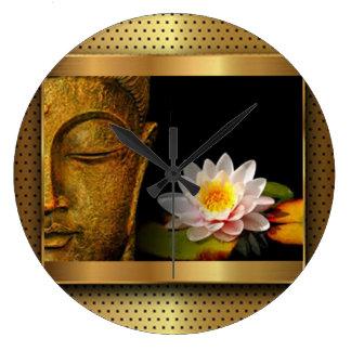 Grande Horloge Ronde Or Bouddha avec la fleur de Lotus
