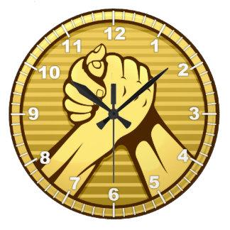 Grande Horloge Ronde Or de bras de fer