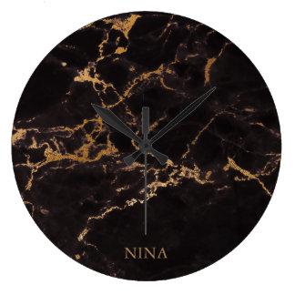 Grande Horloge Ronde Or et pierre de marbre noire