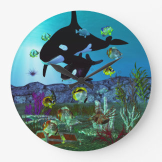 Grande Horloge Ronde ORQUE d'aquarium de l'exploration 3D