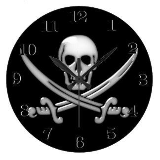 Grande Horloge Ronde Os croisés vitreux de crâne et d'épée de pirate