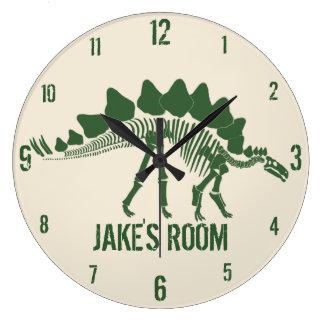 Grande Horloge Ronde Os de dinosaure personnalisés