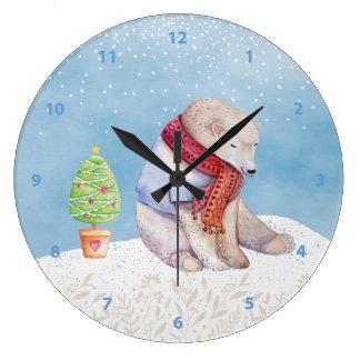 Grande Horloge Ronde Ours blanc et arbre de Noël dans la neige