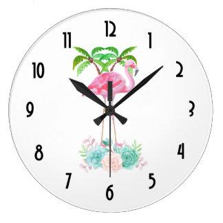 Grande Horloge Ronde Palmiers roses de flamant et Succulents floraux