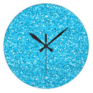 Grande Horloge Ronde Parties scintillantes bleues de miroitement d'Aqua