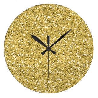 Grande Horloge Ronde Parties scintillantes d'or de miroitement