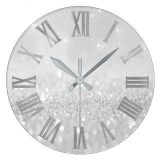 Grande Horloge Ronde Parties scintillantes Numers romain métallique