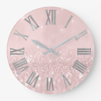 Grande Horloge Ronde Parties scintillantes roses argentées Numers