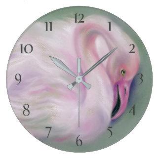 Grande Horloge Ronde Pastel rose mou de flamant