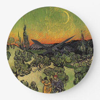 "Grande Horloge Ronde Paysage de Van Gogh le ""avec l'horloge de marche"