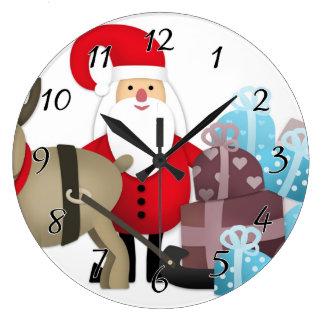 Grande Horloge Ronde Père Noël et son renne avec des cadeaux