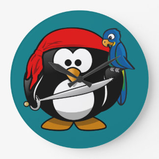 Grande Horloge Ronde Perroquet de pingouin de pirate