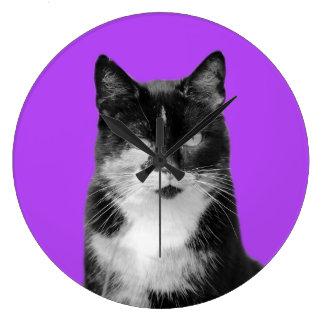 Grande Horloge Ronde Photo animale de chiot d'animal familier de chat