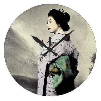 Grande Horloge Ronde Photographie vintage :  Fille de geisha