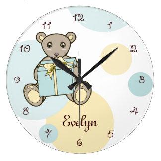Grande Horloge Ronde Pièce en pastel d'enfants de la crèche | de