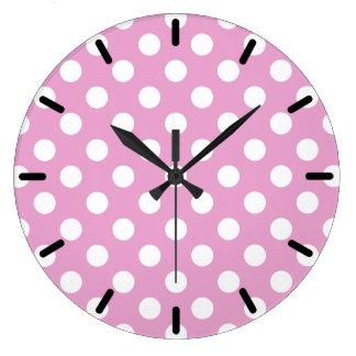 Grande Horloge Ronde Pois blanc sur pâle - rose