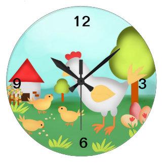 Grande Horloge Ronde Poussins