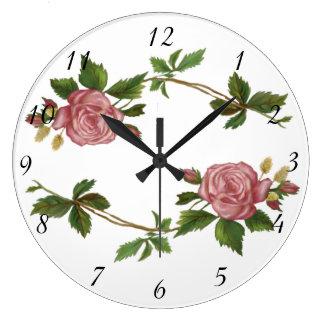 Grande Horloge Ronde Pulvérisateurs vintages de rose de rose