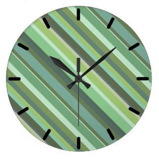 Grande Horloge Ronde Rayures de diagonale de vert olive