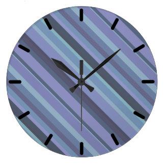 Grande Horloge Ronde rayures diagonales Bleu-grises
