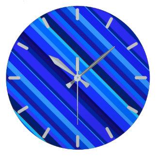 Grande Horloge Ronde Rayures diagonales bleues