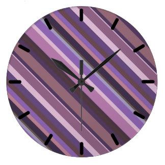 Grande Horloge Ronde Rayures diagonales mauve