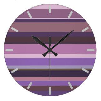 Grande Horloge Ronde Rayures horizontales mauve