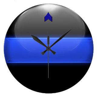 Grande Horloge Ronde Rayures minces de sergent de Blue Line (équilibre