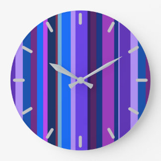 Grande Horloge Ronde Rayures verticales bleues et pourpres
