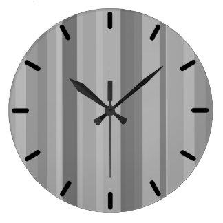 Grande Horloge Ronde Rayures verticales grises