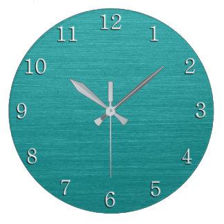 Grande Horloge Ronde Regard turquoise balayé kash001 en métal avec les