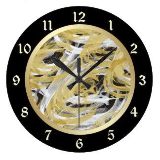 Grande Horloge Ronde Remous d'abrégé sur noir d'or