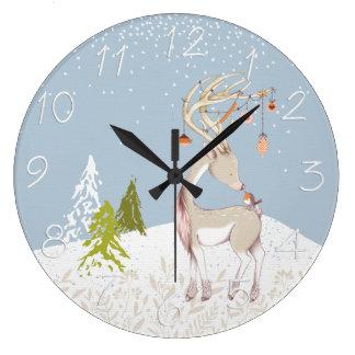 Grande Horloge Ronde Renne mignon et Robin dans la neige