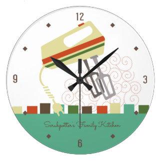 Grande Horloge Ronde Rétros batteurs électriques faisant l'horloge