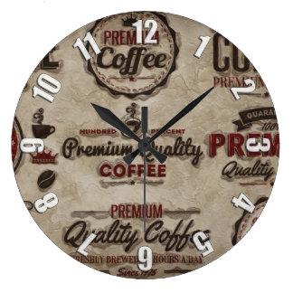 Grande Horloge Ronde Rétros étiquettes de café pour des amants de café