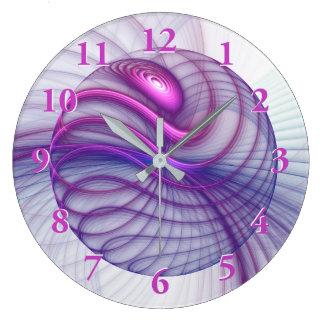 Grande Horloge Ronde Rose abstrait d'art de fractale de beaux