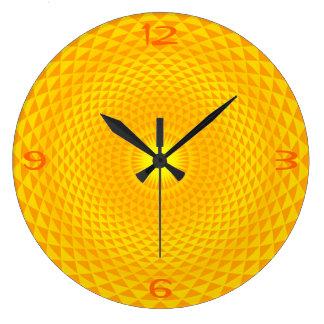 Grande Horloge Ronde Roue d'or jaune OM de méditation de fleur de Sun