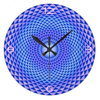 Grande Horloge Ronde Roue pourpre OM de méditation de fleur de Lotus